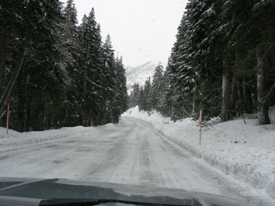 a road on Mammoth Mountain, December 2005
